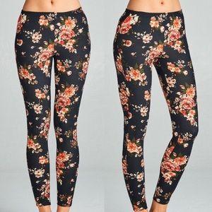 🆕 Floral Print Black and Pink Leggings